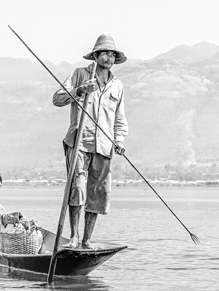 116- Fisherman Holding Fish Gig